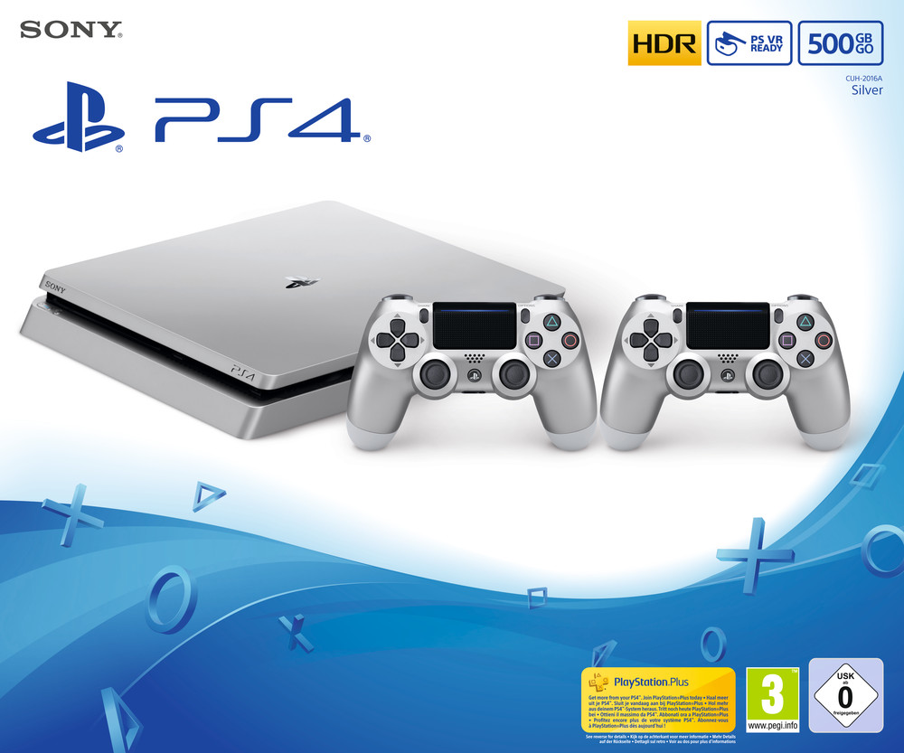 Ps4 500gb Silm Silber 2 Controller Konsolen Gaming Sony Dvd Fifa 2015 Pes 2018