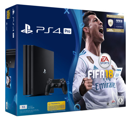 sony playstation 4 pro 1tb jet black inkl fifa 18. Black Bedroom Furniture Sets. Home Design Ideas